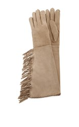 Imoni Long Suede Gloves With Fringing Tan