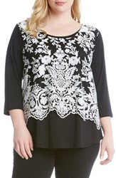 Karen Kane Plus Size Women's Lace Overlay Three Quarter Sleeve Top Cream Black