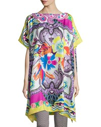 Embroidered Floral Print Poncho Pink Yellow Women's Etro
