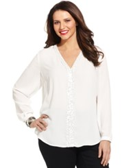 Ny Collection Plus Size Long Sleeve Sequin V Neck Blouse Atlas Ivory
