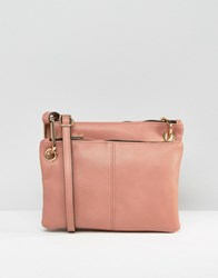 Asos Double Compartment Cross Body Bag Nude Pink