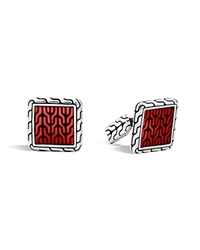 John Hardy Classic Chain Sterling Silver Enamel Square Cufflinks With Transparent Red Enamel Red Silver