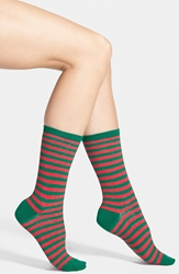 Hot Sox Thin Stripe Crew Socks Red