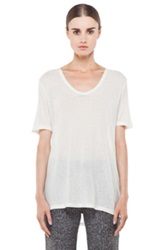 T By Alexander Wang Slub Classic Viscose Blend Tee In White