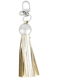 Tory Burch Pebbled Tassel Keyfob Metallic