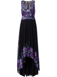 Marchesa Notte Embroidered Flower Gown Black