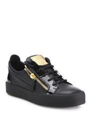 Giuseppe Zanotti Double Zipper And Lace Up Leather Sneakers Black