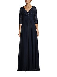 Teri Jon Sequined Lace Gown Navy
