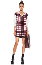 Msgm Plaid Knit Dress In Pink Checkered And Plaid