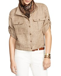 Lauren Ralph Lauren Ramau Short Sleeved Linen Jacket Tan Brown