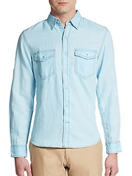 Saks Fifth Avenue Red Trim Fit Linen And Cotton Sportshirt