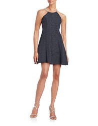 Betsy And Adam Shimmer Fit Flare Dress Steel