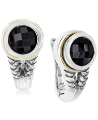 Effy Collection Effy Onyx 3 3 4 C.T. T.W. Braid Earrings In Sterling Silver And 18K Yellow Gold
