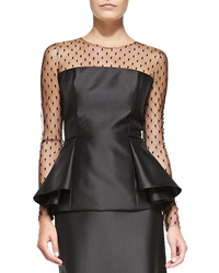 Carmen Marc Valvo Long Sleeve Illusion Peplum Top