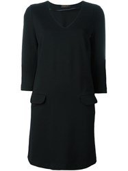 Twin Set V Neck Dress Black