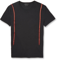 Alexander Mcqueen Satin Trimmed Cotton Jersey T Shirt Black