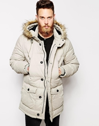 Asos Quilted Parka Jacket White