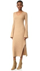 Derek Lam Ribbed Cashmere Sweater Dress Camel
