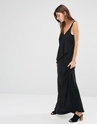 Warehouse V Neck Crepe Ruffle Maxi Dress Black