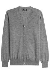 Jil Sander Wool Cardigan With Silk Grey