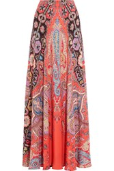 Etro Printed Silk Crepe De Chine Maxi Skirt Coral