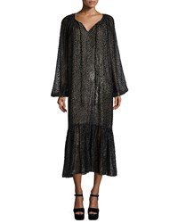 Michael Kors Long Sleeve Metallic Peasant Dress Graphite Grey
