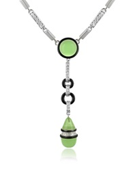 A Z Collection Crystal Drop Necklace Green