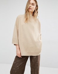 Paisie Funnel Neck Jumper With Wide Sleeves Camel Tan