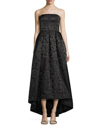 Monique Lhuillier Strapless High Low Pleated Gown Black