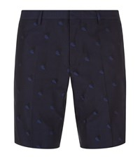 Paul Smith Embroidered Hearts Shorts Male Navy