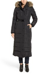 Kors Women's Michael Faux Fur Trim Belted Down And Feather Fill Maxi Coat