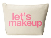 Dogeared Let's Makeup Lil Zip Bag Canvas Pink Cosmetic Case Bone