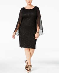 Connected Plus Size Angel Sleeve Sequined Dress Black