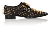 Gucci Men's Studded Leather Double Monk Strap Shoes Black