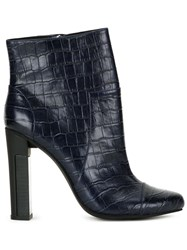 Manning Cartell Crocodile Embossed Boots Blue
