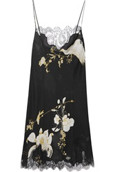 Carine Gilson Printed Chantilly Lace Trimmed Silk Satin Chemise