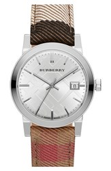 Women's Burberry 'The City' Woven Strap Watch 34Mm
