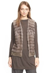 Women's Eleventy Genuine Mink Fur Vest With Cable Knit Back