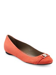 Versace Suede Ballet Flats Orange