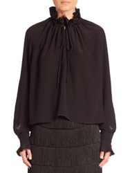 Stella Mccartney Tie Neck Silk Peasant Blouse Black