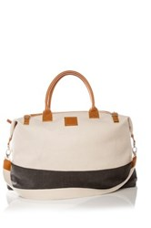 Brouk And Co The Weekend Canvas And Faux Leather Bag White