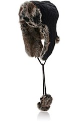 Barneys New York Women's York's Black Cable Knit Trapper Hat Is Trimmed With Brown Faux Fur Black Brown Black Brown
