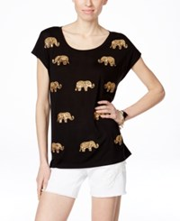Inc International Concepts Petite Embellished Elephant Print T Shirt Only At Macy's Deep Black