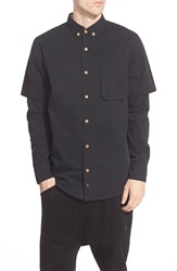 Thing Thing 'Commando' Short Sleeve Woven Shirt With Long Sleeve Insets Black