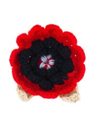 Christopher Kane Crochet Flower Brooch Red