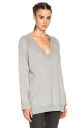 T By Alexander Wang V Neck Sweater In Gray