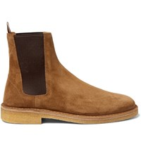 Saint Laurent Cigar Suede Chelsea Boots Tan