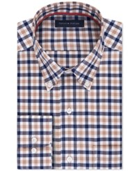 Tommy Hilfiger Men's Slim Fit Non Iron Brown Check Dress Shirt