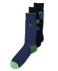 Perry Ellis Men's Socks Print 3 Pack Navy