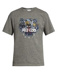 Kenzo Tiger Head Embroidered Cotton T Shirt Grey